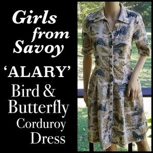 ▪️GIRLS FROM SAVOY▪️Bird Butterfly Corduroy Dress